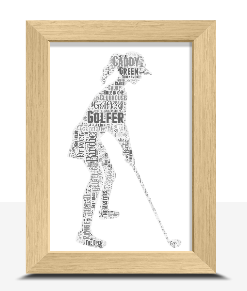 Sport Female Golfer Personalised Word Art Print