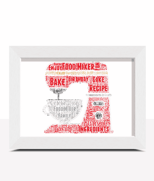 Food And Drink Personalised Chef Food Mixer Word Art – Baker Gift