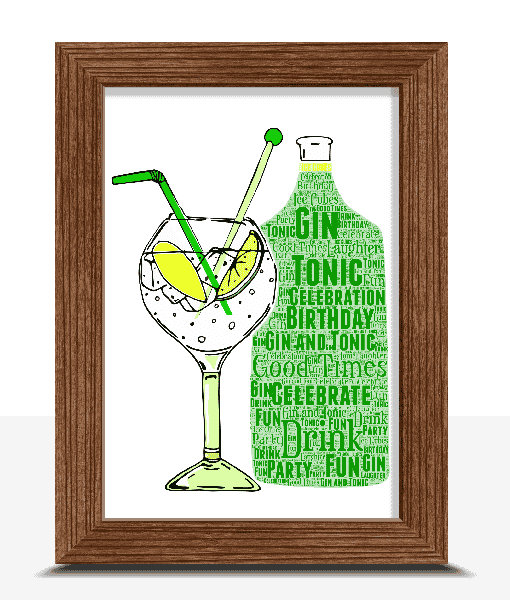 Food And Drink Personalised Gin And Tonic Word Art Print