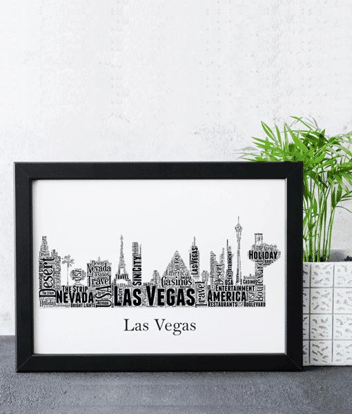 Personalised Las Vegas Skyline Word Art City Skyline Prints