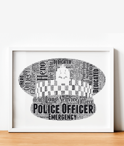 [tag] Personalised Police Flat Peaked Cap Word Art