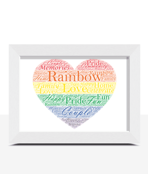 Gifts For Couples Personalised Rainbow Coloured Heart Word Art