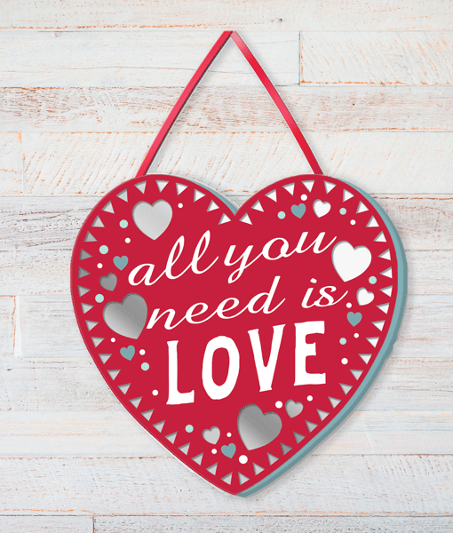 Family All You Need Is Love – Heart Shaped Plaque