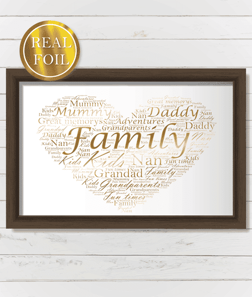 Engagement Gifts Personalised Love Heart Word Art – Metallic Foiled Print