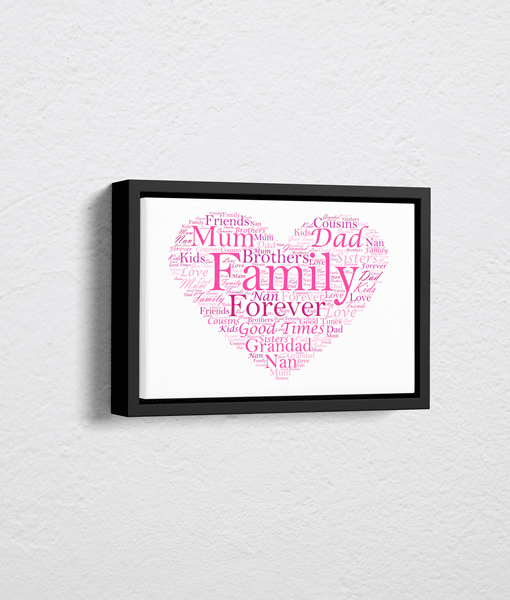 [tag] Personalised Love Heart Word Art – On Canvas