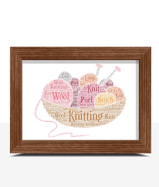 [tag] Personalised Knitting Word Art – Knitter Gift