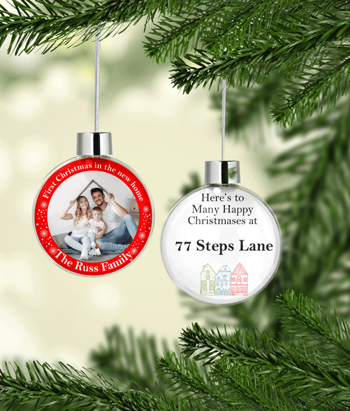 Christmas New Home – Personalised Christmas Photo Bauble Gift