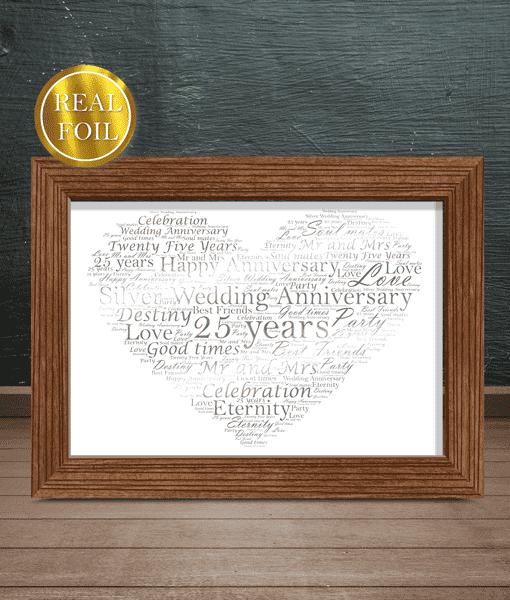 Silver Wedding 25th Anniversary Gift Metallic Foiled Word Art Print Abc Prints