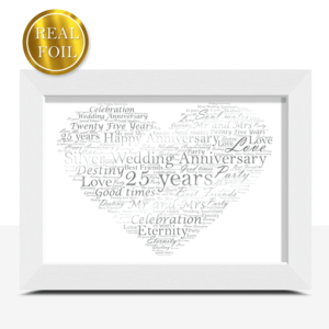 Anniversary Gifts Silver Wedding 25th Anniversary Gift – Metallic Foiled Word Art Print