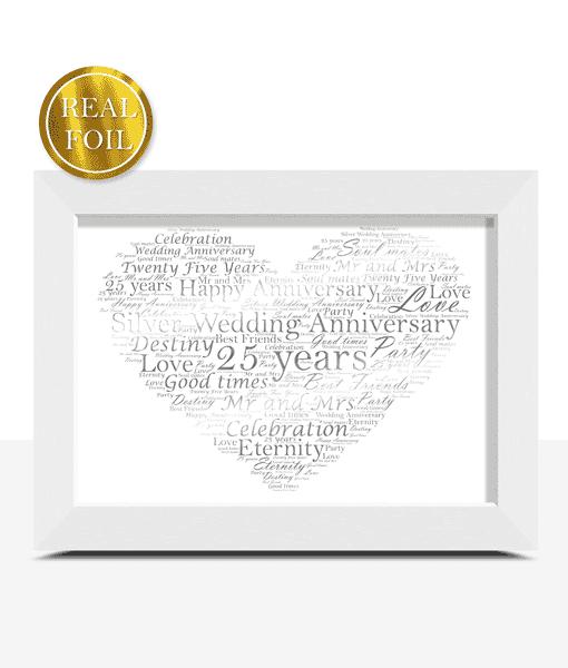 Anniversary Gifts Silver Wedding 25th Anniversary Gift – Metallic Foiled Word Art Print