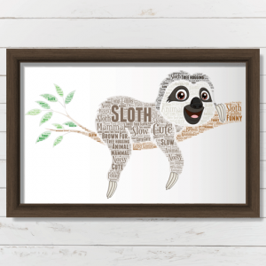 Animal Prints Personalised Sloth Word Art Print