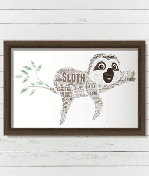 Animal Prints Personalised Sloth Word Art Print