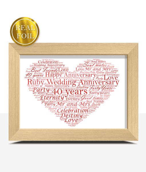 Anniversary Gifts Ruby Wedding 40th Anniversary Gift – Metallic Foiled Word Art Print