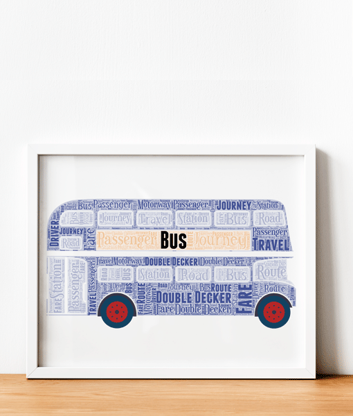 Blue Double Decker Bus Word Art Travel