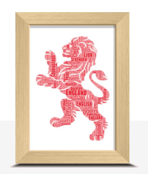 [tag] English Red Lion Word Art Print