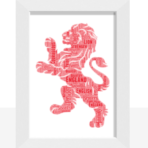 [tag] English Red Lion Word Art Print