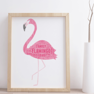 Animal Prints Flamingo Word Art Print