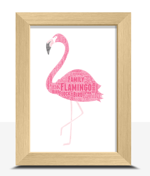 Animal Prints Flamingo Word Art Print
