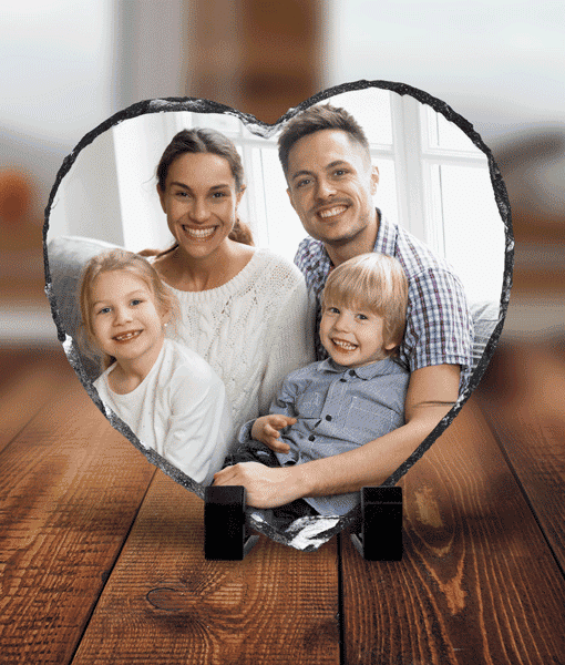 Anniversary Gifts Personalised Heart Shaped Rock Photo Slate – With Stand