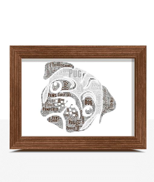 Animal Prints Pug Dog Face Word Art Print