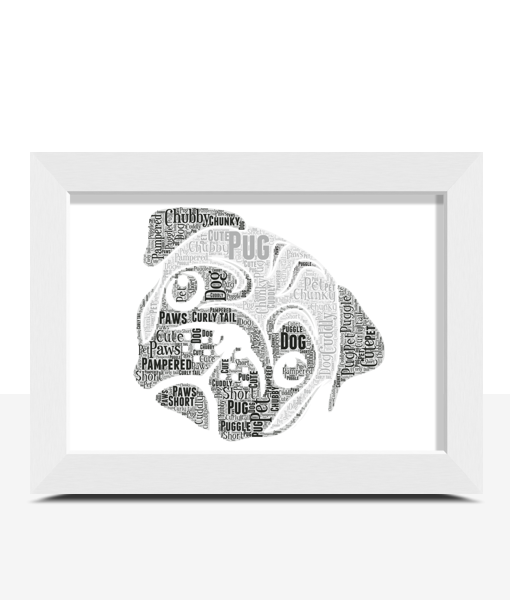 Pug Dog Face Word Art Print Animal Prints