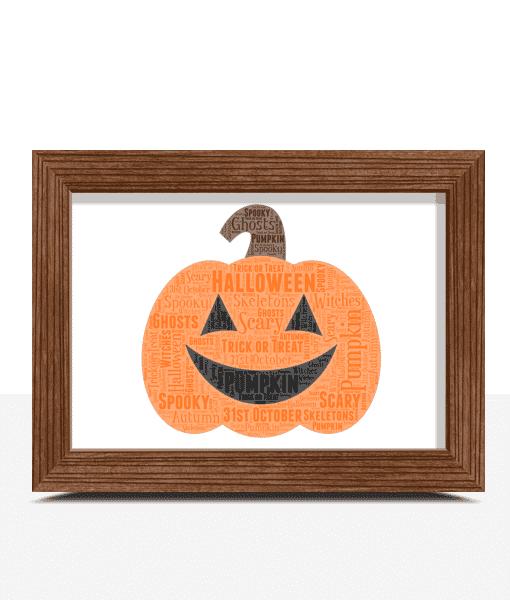 Halloween Pumpkin Word Art Print