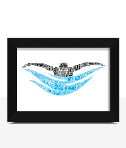 Sport Personalised Swimmer Word Art Print