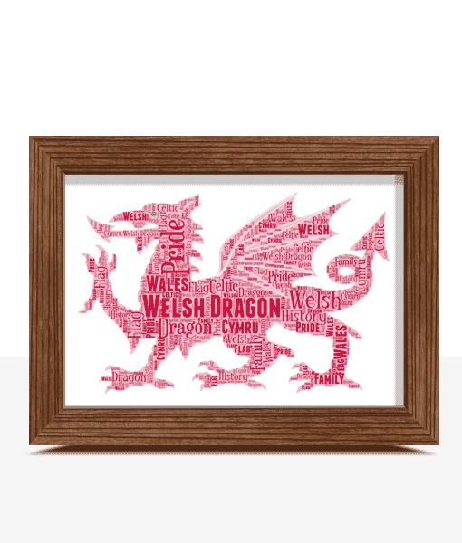 Travel Personalised Welsh Dragon Word Art Print