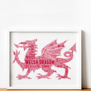 Personalised Welsh Dragon Word Art Print Travel