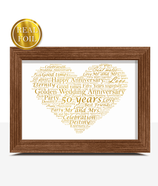 Anniversary Gifts Golden Wedding 50th Anniversary Gift – Metallic Foiled Word Art Print