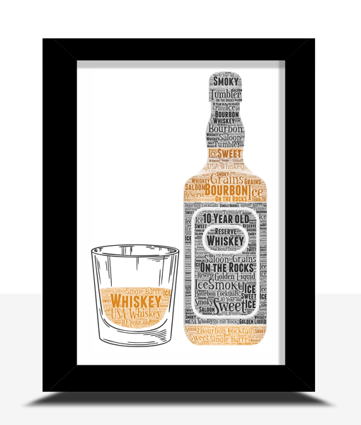 Food And Drink Bourbon Whiskey Bottle and Glass Word Art