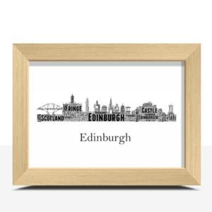 Personalised Edinburgh Skyline Word Art City Skyline Prints