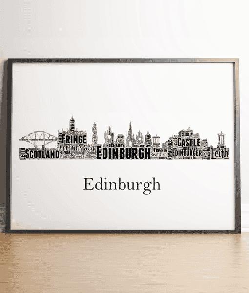 Travel Personalised Edinburgh Skyline Word Art