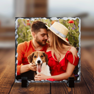 Anniversary Gifts Personalised Square Rock Photo Slate – With Stand