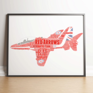 Travel RAF Red Arrows Plane Word Art Print
