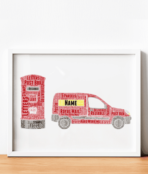 Personalised Postman – Postwoman Word Art Print