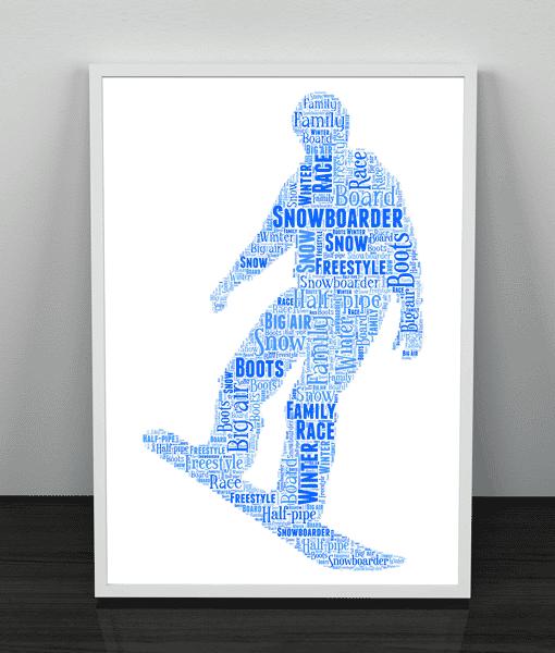 Sport Snowboarding Word Art – Personalised Snowboarder Gift