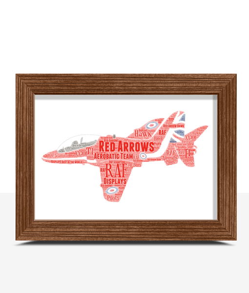 Travel RAF Red Arrows Plane Word Art Print