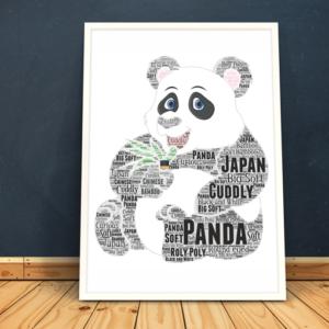 Animal Prints Personalised Giant Panda Word Art Print