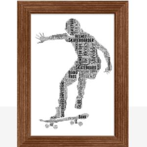 Skateboarding Word Art Print Gifts For Children