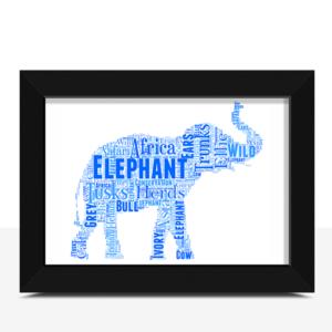 African Elephant – Personalised Word Art Print Animal Prints
