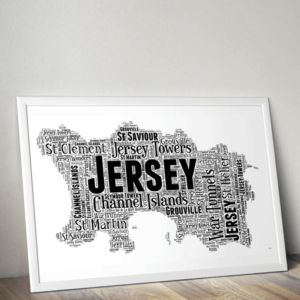 Personalised Jersey Word Art Map Travel