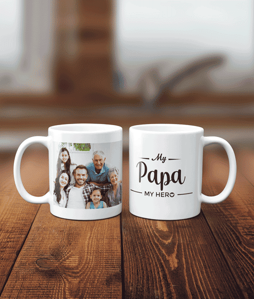 My Hero – Personalised Named Photo Mug – Thank You Appreciation Gift Fathers Day Gifts