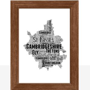 Personalised Cambridgeshire Word Art Map Travel
