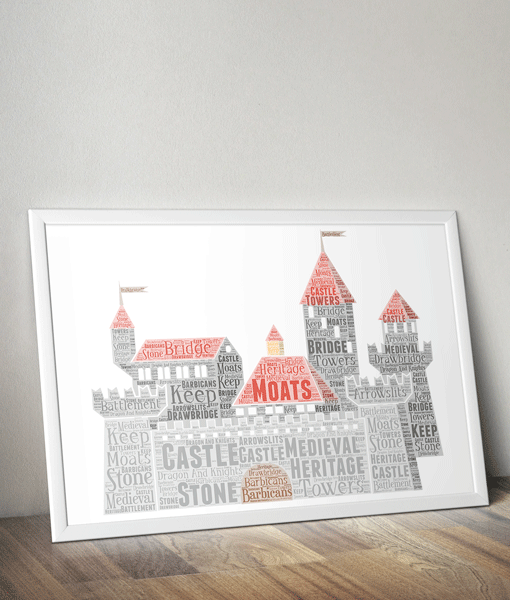Personalised Castle Word Art Print Gifts For Children