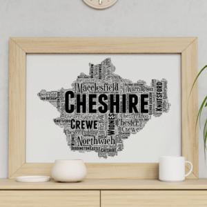 Personalised Cheshire Word Art Map Travel