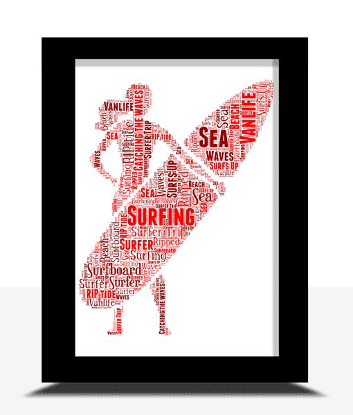 Personalised Female Surfer Word Art Gift Sport Gifts