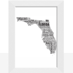 Personalised Florida Word Art Map Travel
