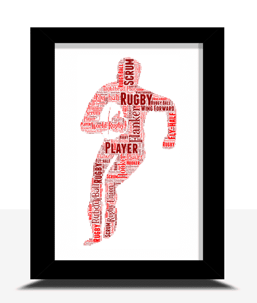Personalised Rugby Player Word Art Gift Sport Gifts
