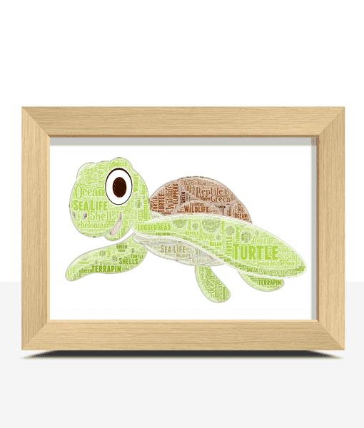 Personalised Turtle Word Art Print Animal Prints